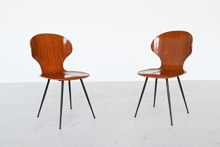 Mid-20th Century Carlo Ratti Plywood Teak Dining Chairs Lissoni, Italy, 1950 For Sale