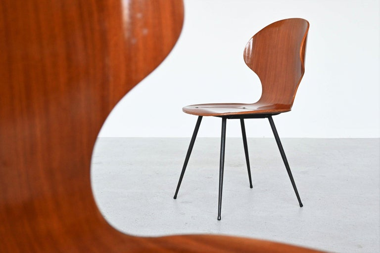 Carlo Ratti Plywood Teak Dining Chairs Lissoni, Italy, 1950 For Sale 2
