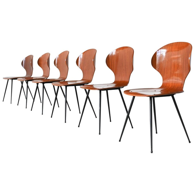 Carlo Ratti Plywood Teak Dining Chairs Lissoni, Italy, 1950 For Sale