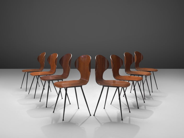 Late 20th Century Carlo Ratti Set of Eight Dining Chairs in Wood and Metal For Sale