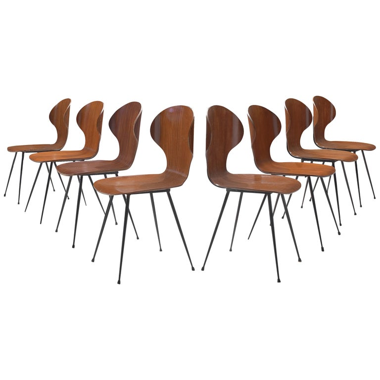 Carlo Ratti Set of Eight Dining Chairs in Wood and Metal For Sale