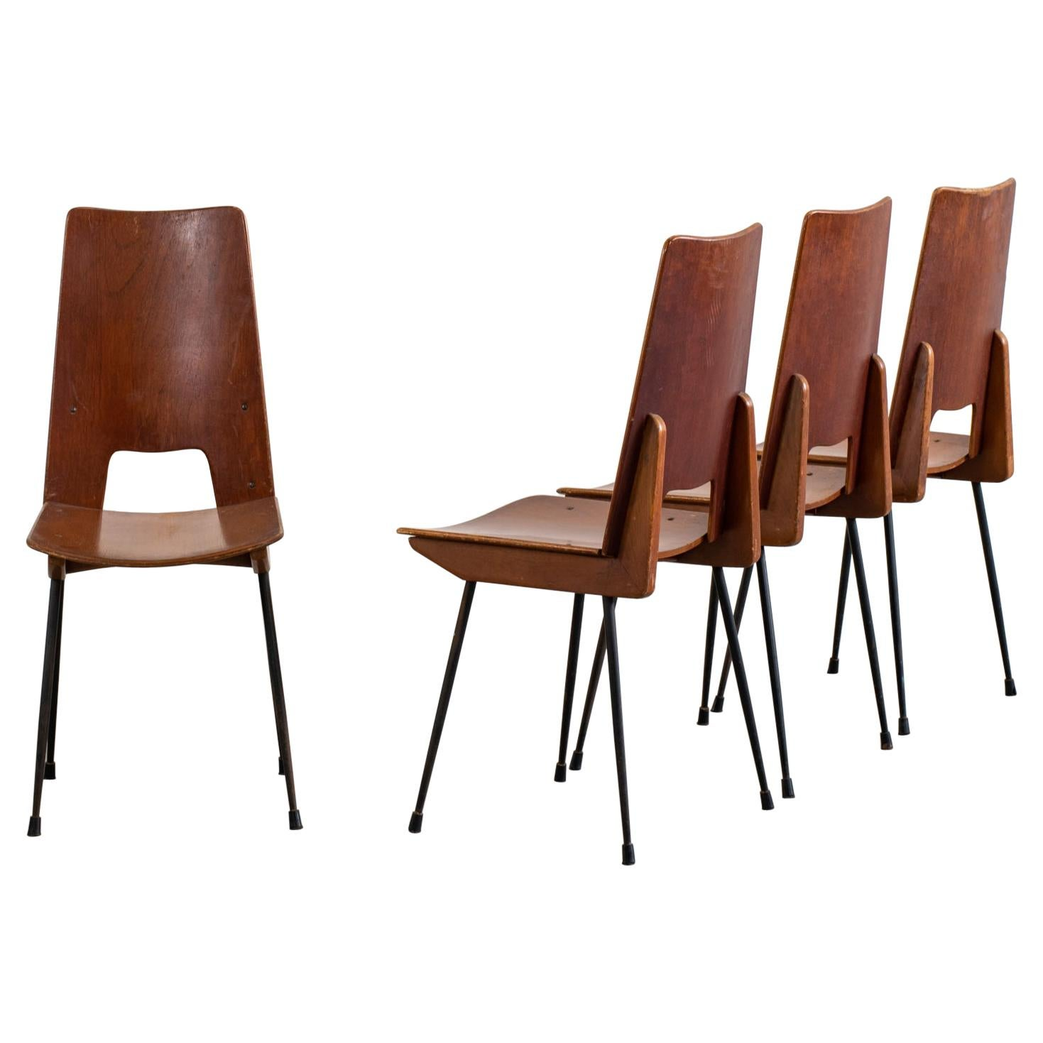 Carlo Ratti Set of Four Wooden Dining Chairs Italian Manufacture, 1950s