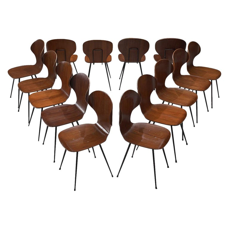 Carlo Ratti Set of Fourteen Dining Chairs of Plywood and Metal For Sale
