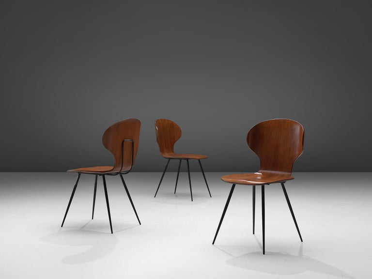 Italian Carlo Ratti Set of Six Dining Chairs of Plywood and Metal For Sale