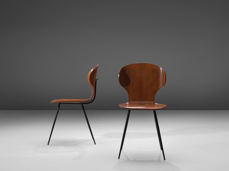 Carlo Ratti Set of Six Dining Chairs of Plywood and Metal In Good Condition For Sale In Waalwijk, NL