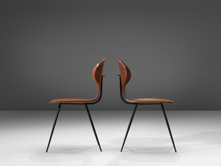 Late 20th Century Carlo Ratti Set of Six Dining Chairs of Plywood and Metal For Sale