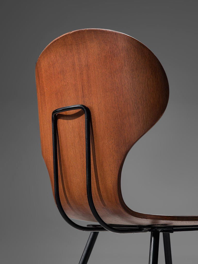 Carlo Ratti Set of Six Dining Chairs of Plywood and Metal For Sale 1