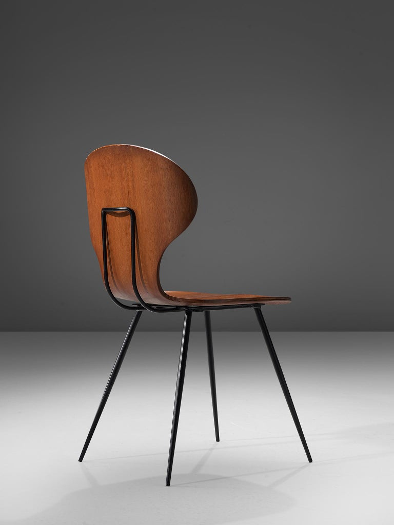 Carlo Ratti Set of Six Dining Chairs of Plywood and Metal For Sale 2