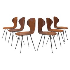 Carlo Ratti Set of Six Dining Chairs of Plywood and Metal