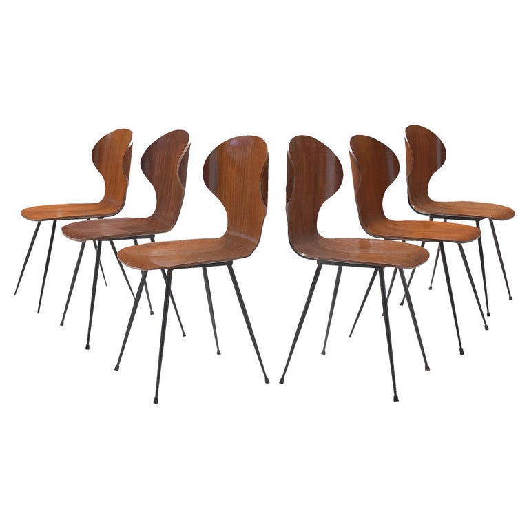 Carlo Ratti Set of Six Dining Chairs of Plywood and Metal For Sale