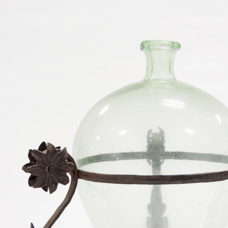 Carlo Rizzarda wrought iron and blown Murano glass vase, Italy, 1920s.