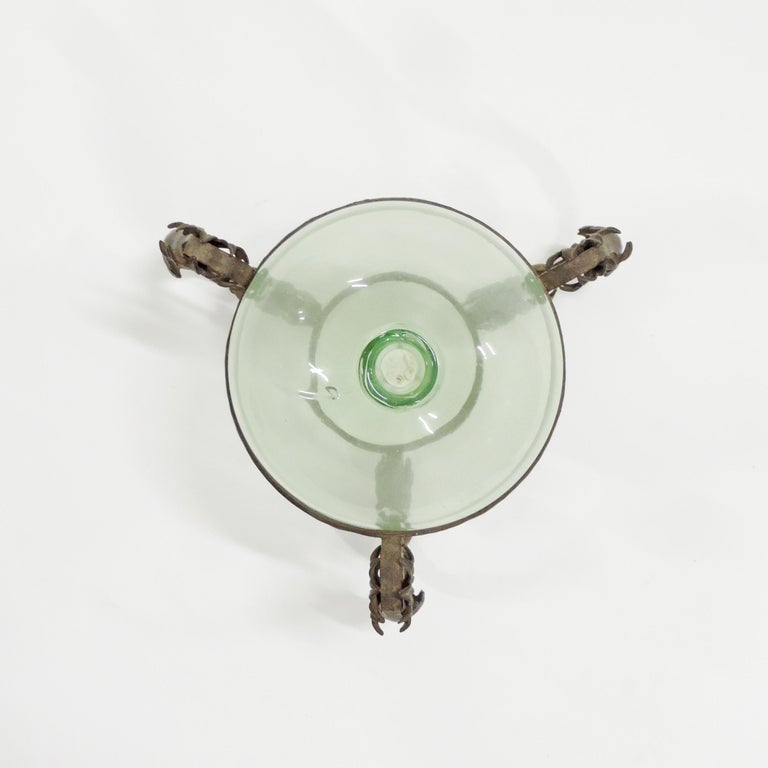 Art Deco Carlo Rizzarda Wrought Iron and Blown Murano Glass Vase, Italy, 1920s For Sale