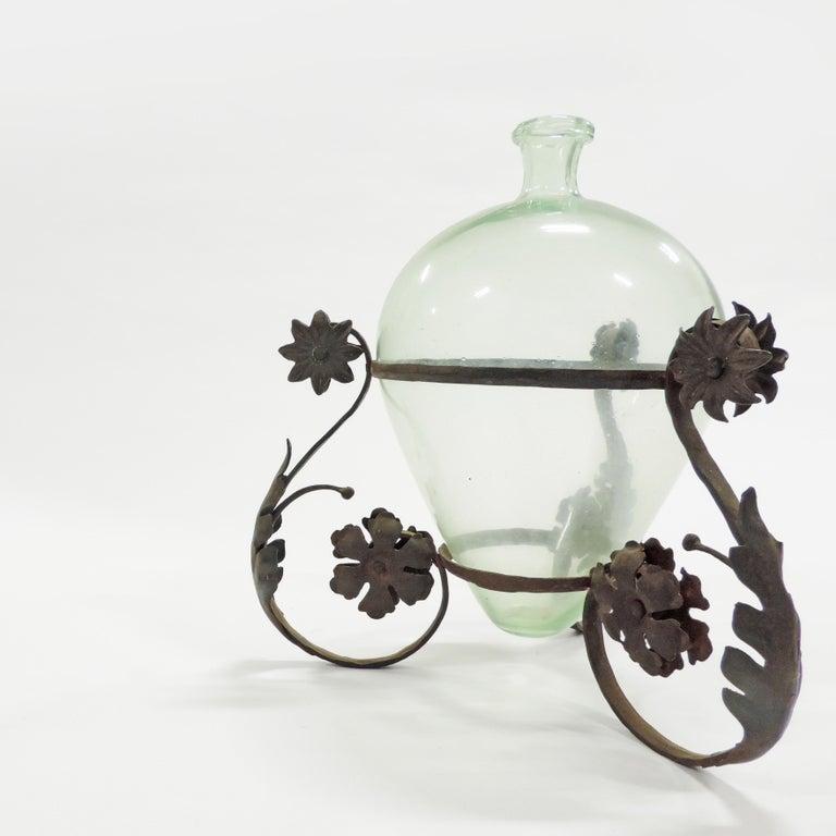 Italian Carlo Rizzarda Wrought Iron and Blown Murano Glass Vase, Italy, 1920s For Sale