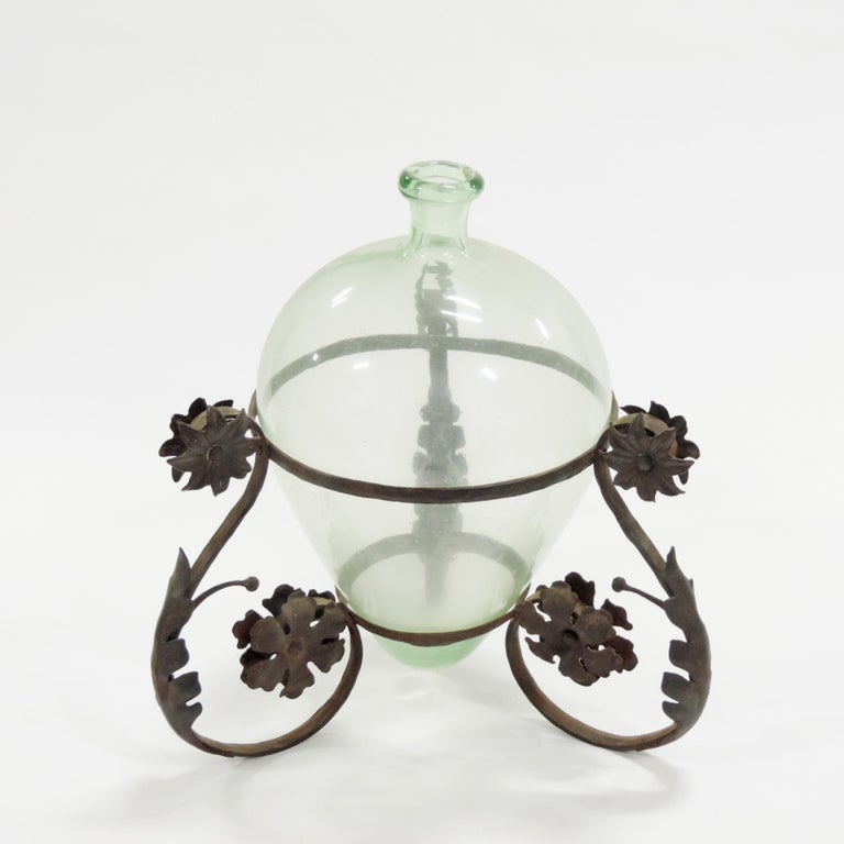 Carlo Rizzarda Wrought Iron and Blown Murano Glass Vase, Italy, 1920s In Good Condition For Sale In Milan, IT