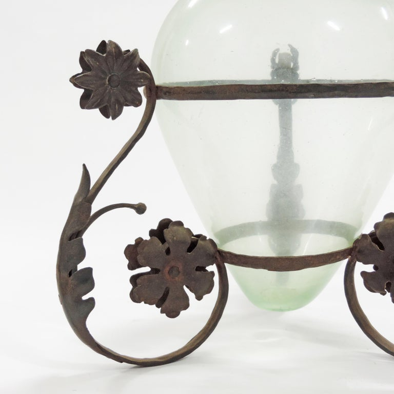 Early 20th Century Carlo Rizzarda Wrought Iron and Blown Murano Glass Vase, Italy, 1920s For Sale