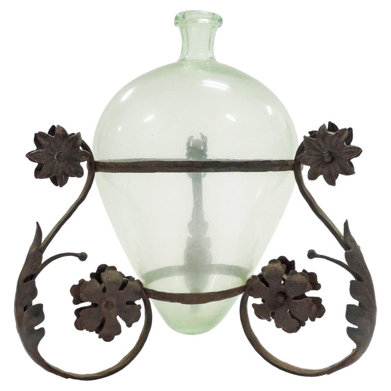 Carlo Rizzarda Wrought Iron and Blown Murano Glass Vase, Italy, 1920s For Sale