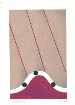 Lunar Landscape - Original Lithograph by Carlo Scarpa - 1970