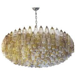 """Carlo Scarpa Amber Crystal Murano Glass """"Poliedri"""" Chandelier for Venini, 1980s"""