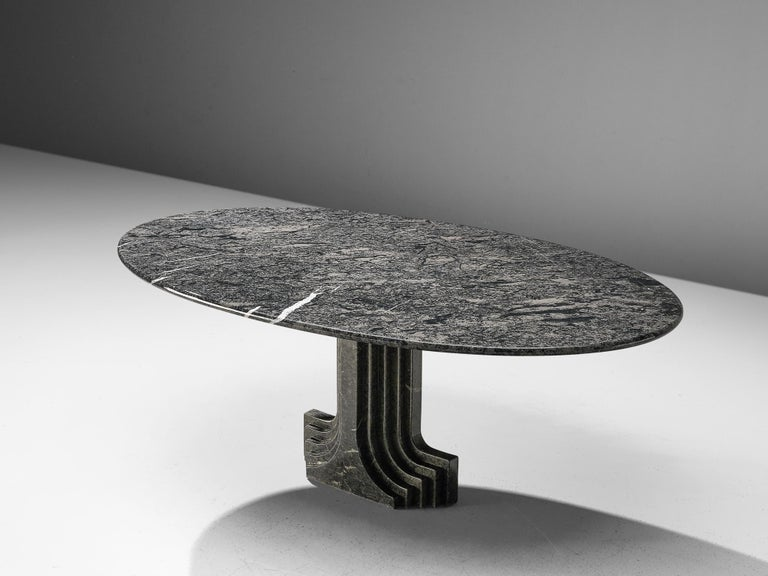 Carlo Scarpa for Simon, oval dining table 'Argo', grey marble, Italy, 1970  Carlo Scarpa was trained as an architect and influenced by various themes. His main focus was the material itself followed by nature, Venetian and Japanese culture. This