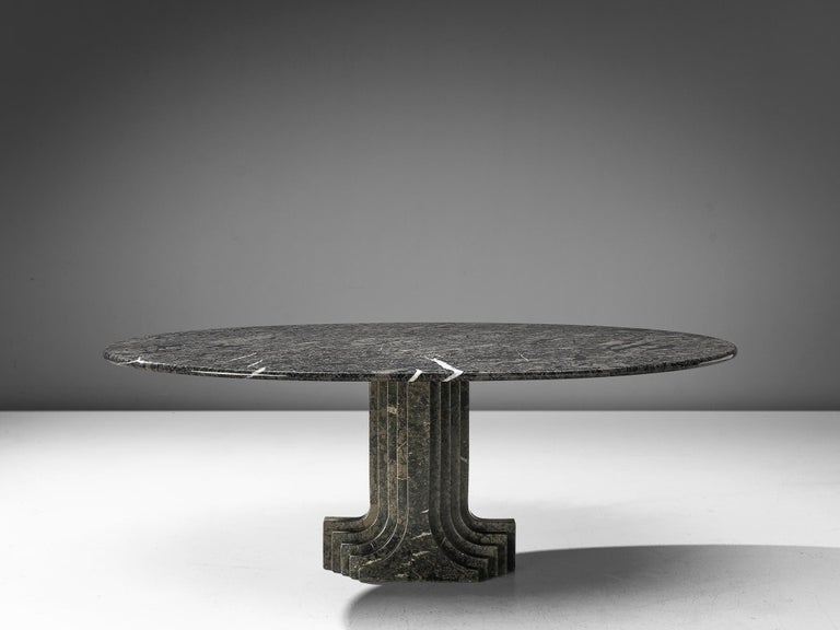Mid-Century Modern Carlo Scarpa 'Argo' Oval Dining Table in Grey Marble For Sale