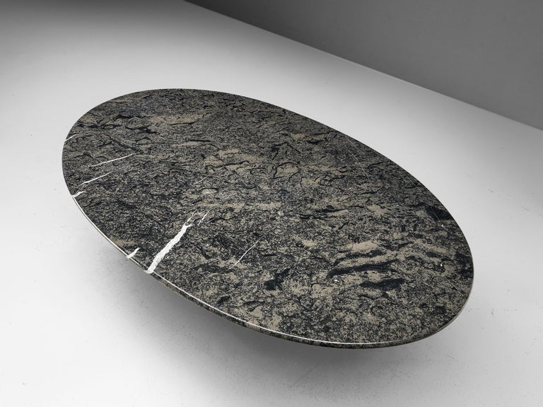 Italian Carlo Scarpa 'Argo' Oval Dining Table in Grey Marble For Sale