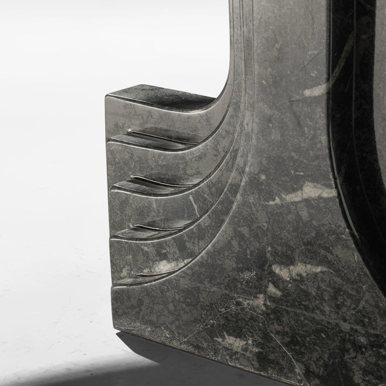 Late 20th Century Carlo Scarpa 'Argo' Oval Dining Table in Grey Marble For Sale