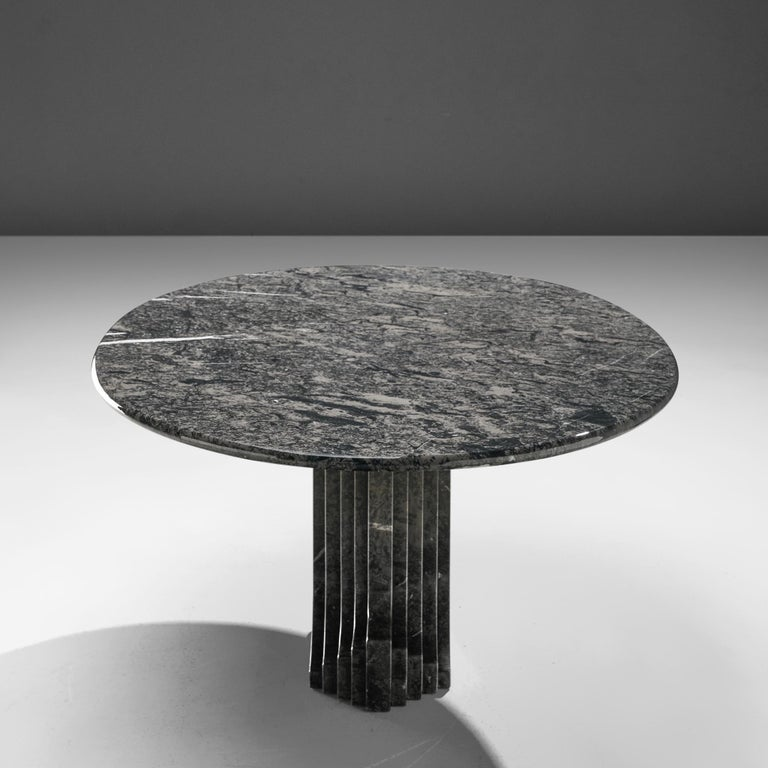 Carlo Scarpa 'Argo' Oval Dining Table in Grey Marble For Sale 1