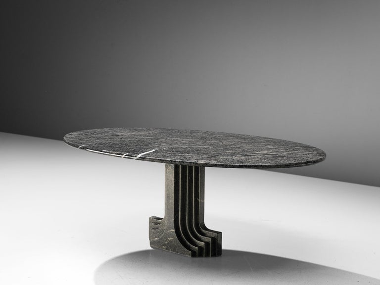 Carlo Scarpa 'Argo' Oval Dining Table in Grey Marble For Sale 2