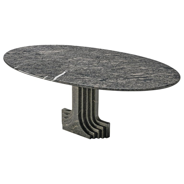 Carlo Scarpa 'Argo' Oval Dining Table in Grey Marble For Sale