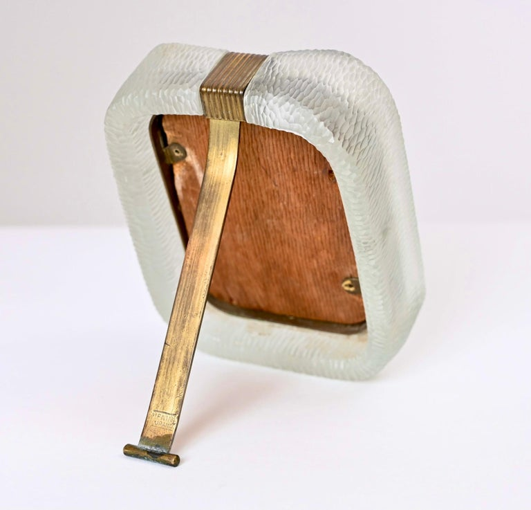 Mid-Century Modern Carlo Scarpa 'Battuto' Glass and Brass Picture Frame by Venini, Italy circa 1940 For Sale