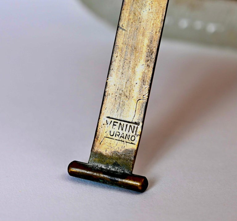 Carlo Scarpa 'Battuto' Glass and Brass Picture Frame by Venini, Italy circa 1940 For Sale 1