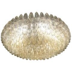 """Carlo Scarpa Champagne Murano Glass """"Poliedri"""" Chandelier for Venini, 1980s"""