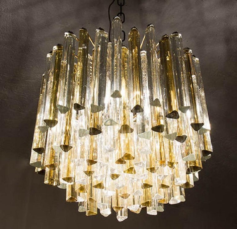 Carlo Scarpa Chandelier for Venini Trilobo Model, Italian Design, 1960s In Good Condition For Sale In Palermo, Italia