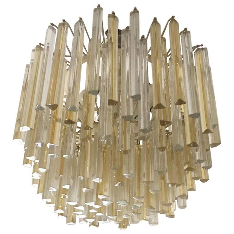 Carlo Scarpa Chandelier for Venini Trilobo Model, Italian Design, 1960s For Sale