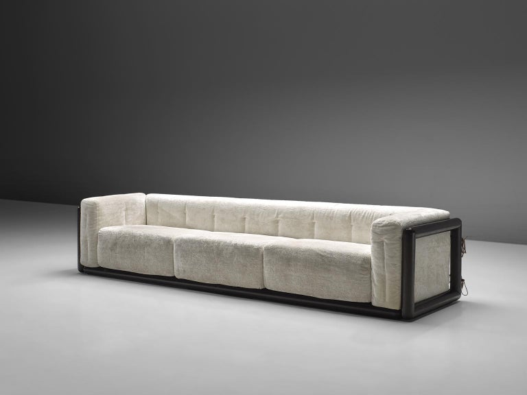 Carlo Scarpa for Simon, 'Cornaro' sofa, white velvet fabric, wood, Italy, 1973  The sofa has a very thick cushion and is upholstered with the original pink fabric. The sofa has a relatively thin back and armrests. The frame is made out of a thick
