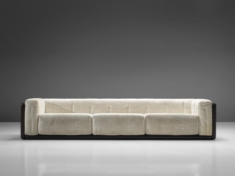 Carlo Scarpa for Simon, 'Cornaro' sofa, white velvet fabric, wood, Italy, 1973