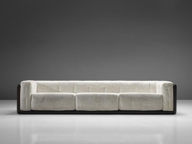 Mid-Century Modern Carlo Scarpa 'Cornaro' Sofa for Simon in White Velvet For Sale