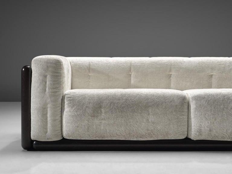 Italian Carlo Scarpa 'Cornaro' Sofa for Simon in White Velvet For Sale