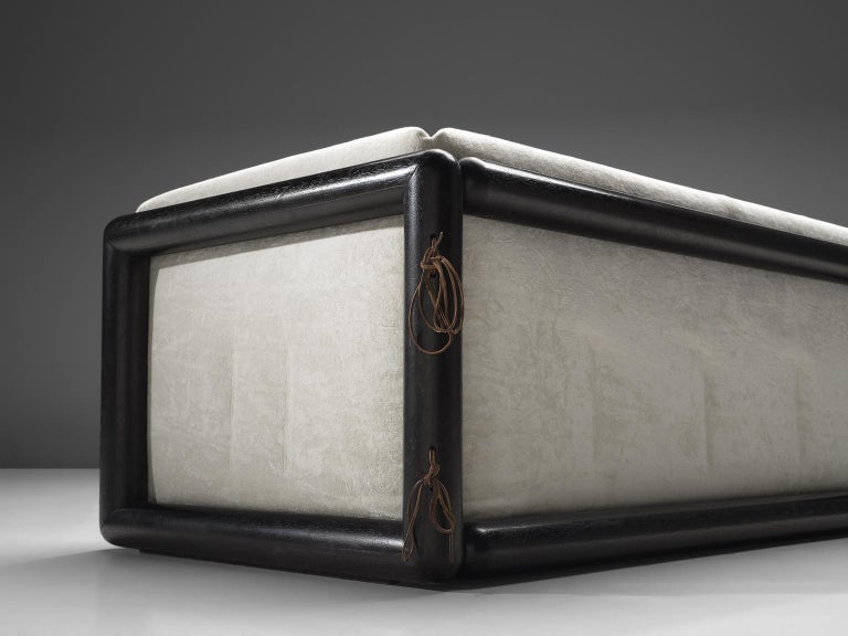 Fabric Carlo Scarpa 'Cornaro' Sofa for Simon in White Velvet For Sale