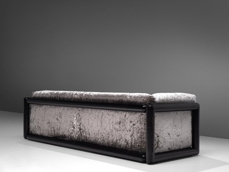 Carlo Scarpa for Simon, 'Cornaro' sofa, silver metallic velvet fabric, wood, Italy, 1973  The 'Cornaro' sofa by Carlo Scarpais a perfect example of the ultrarazionale style;breaking away from the strict limits of rationalism, resulting ina sofa
