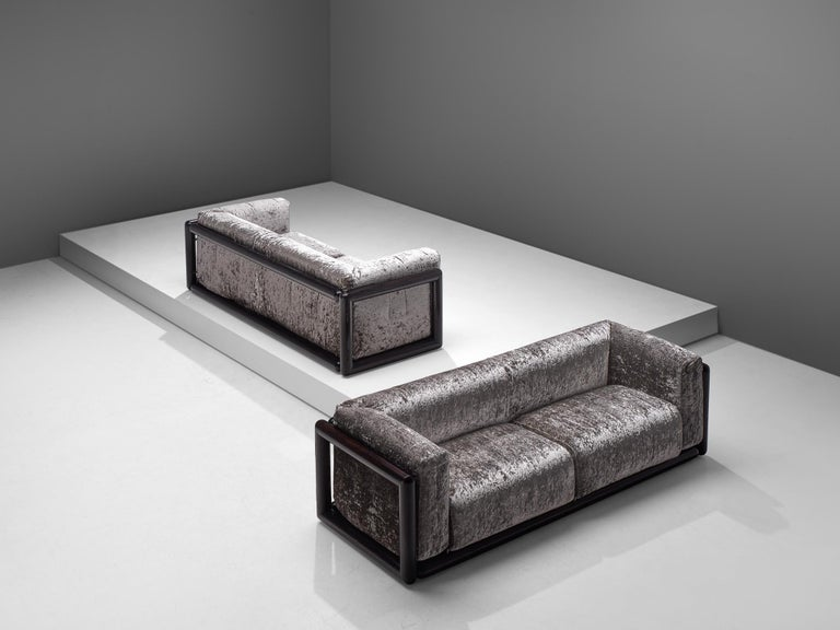 Carlo Scarpa for Simon, 'Cornaro' sofas, silver metallic velvet fabric, wood, Italy, 1973  The 'Cornaro' sofa by Carlo Scarpais a perfect example of the Ultrarazionale style;breaking away from the strict limits of Rationalism, resulting ina
