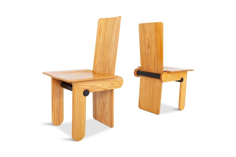 Wood Carlo Scarpa Dining Chairs for Gavina 1974 For Sale