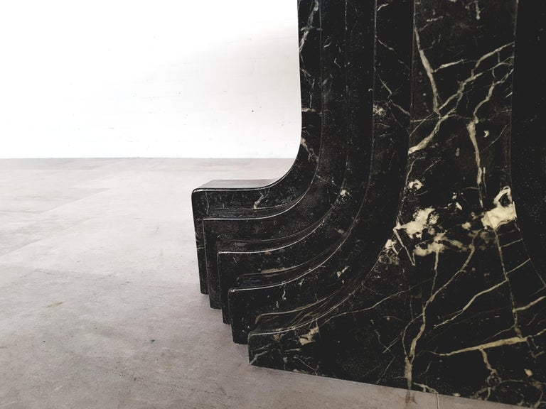 Late 20th Century Carlo Scarpa Dining Table in Nero Marquina Marble For Sale