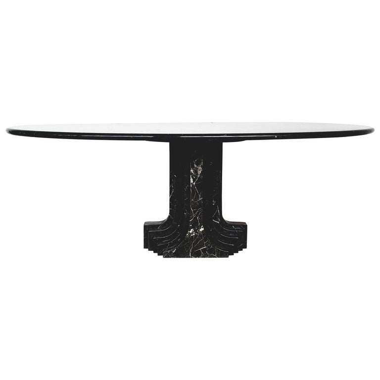 Carlo Scarpa Dining Table in Nero Marquina Marble For Sale