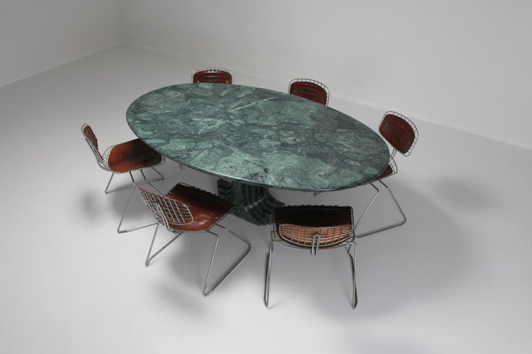 Carlo Scarpa Dining Table 'Samo' in a Rare Green Marble For Sale 6