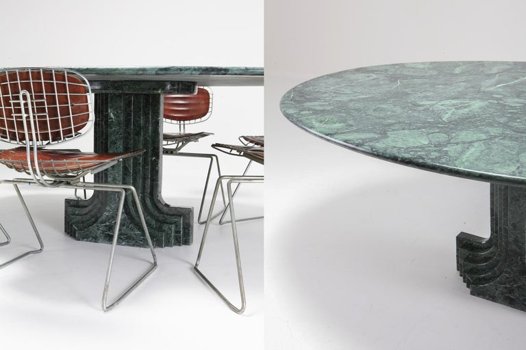 Carlo Scarpa Dining Table 'Samo' in a Rare Green Marble For Sale 7