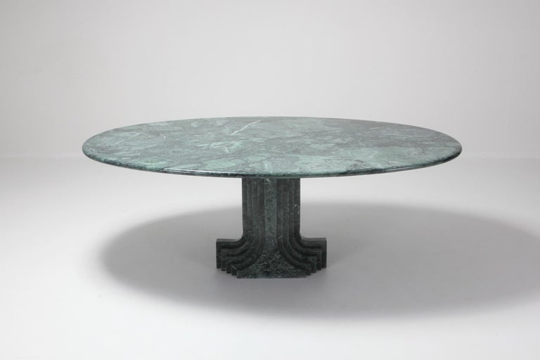 European Carlo Scarpa Dining Table 'Samo' in a Rare Green Marble For Sale