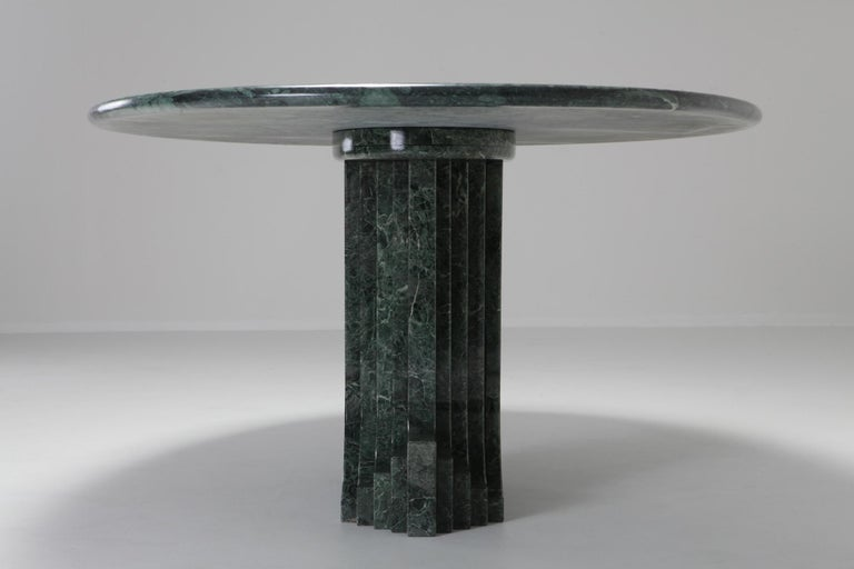 Carlo Scarpa Dining Table 'Samo' in a Rare Green Marble For Sale 3