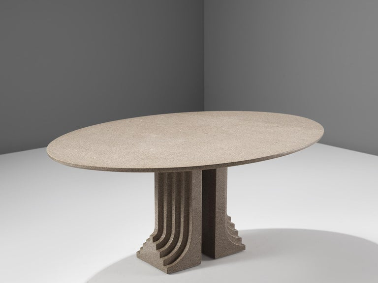 Carlo Scarpa for Simon, granite, Italy, 1970s  This 'Samo' table is part of the 'Ultrarazionale' collection by Simon. The base of the table is formed out of two layered pillars that seem to exist of several pillars in a row, clearly a reference to