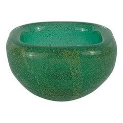 """Carlo Scarpa for Venini Murano Art Deco Signed """"Sommerso"""" Blown Glass Bowl"""